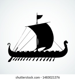 Archaic past century big wood oar galleon for merchant trading or colonization isolated on white background. Dark ink hand drawn logo icon sign symbol symbol sketch in art retro graphic gravure style