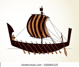 Archaic past century etruscan oar bireme canvas clothing galliass for merchant trading or colonization isolated on white background. Line ink drawn sign icon sketch in art retro cartoon gravure style