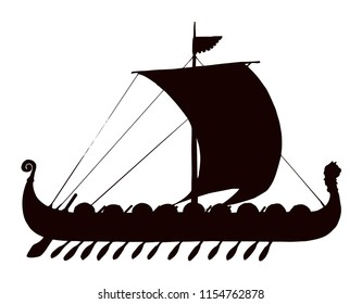 Archaic past century wood oar galleon for merchant trading or colonization isolated on white background. Dark ink hand drawn picture symbol sketch in art retro graphic gravure style