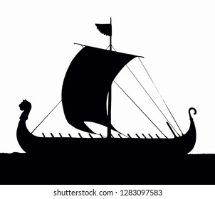 Archaic past century wood oar galleon for merchant trading or colonization isolated on white background. Dark ink hand drawn logo icon sign symbol symbol sketch in art retro graphic gravure style