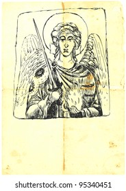 Archangel MICHAEL - hand-drawn (with good precision level of detail), a series of four archangels. The other three also in the portfolio.