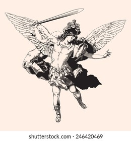Archangel Michael. Vector illustration.