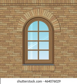 Arched antique window on a brick wall, the texture of the building facade, vector graphics