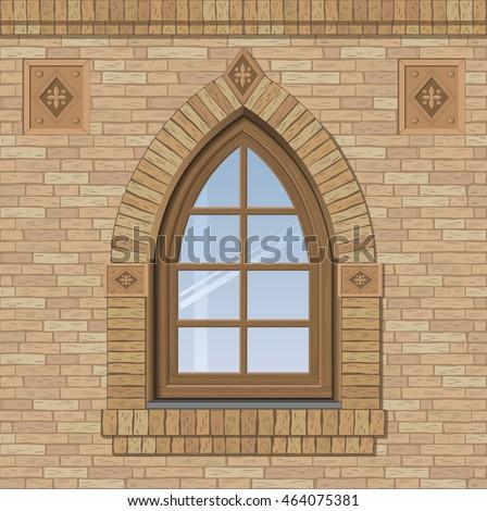 arched antique window on brick wall のベクター画像素材