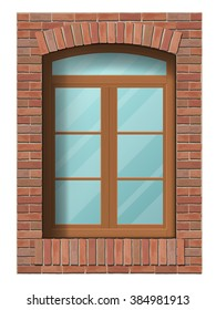 Arched classic window in brick wall. Architectural element of the building facade. Vector detailed illustration.