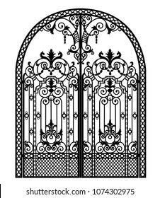 arched metal gate with forged ornaments on a white background