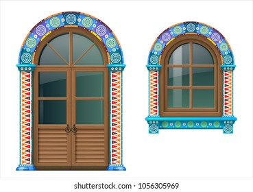 Arched wooden doors and window in Mexican or Spanish style with bright colored ornamental frame. Vector graphics