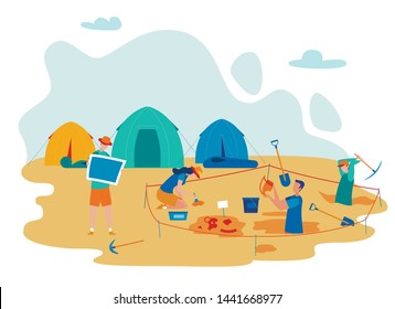 Archeological Expedition Flat Vector Illustration. Archeology Excavation, Scientists Campsite. Archaeologists Digging Using Instruments and Tools, Searching Antique Artifacts Cartoon Characters