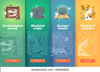 Archeological survey. Human origin. Ancient fossil. Genetics sudy. Prehistoric period. Education and science vertical layout concepts. Flat modern style.