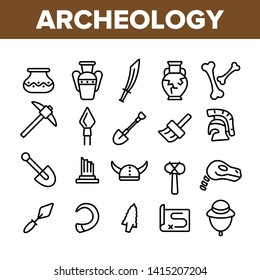Archeological Tools And Excavations Vector Linear Icons Set. Archeology Science Outline Symbols Pack. Archeologist Equipment. Antique Greek Pottery, Historical Artifacts Isolated Contour Illustrations