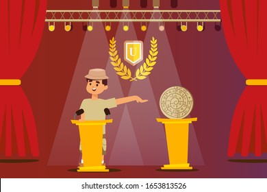 Archeologist presenting his discovery historic artifact of ancient civilization, vector illustration. Man cartoon character on stage, scientific conference presentation speaker, archeological artifact