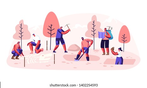Archeologists, Paleontology Scientists Working on Excavations or Digging Soil Layers with Shovel and Exploring Artifacts. Studying Dinosaurs Fossil Skeleton Bones. Cartoon Flat Vector Illustration