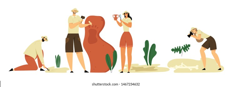 Archeologists, Paleontology Scientists Working on Excavations, Photographing and Exploring Artifacts. Studying Dinosaurs Fossil Skeleton Bones and Huge Footprint. Cartoon Flat Vector Illustration