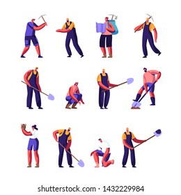 Archeologists and Road Repair Workers Set, Paleontology Scientists with Shovels and Pickaxe Working on Excavations or Digging Soil Layers Exploring Artifacts, Studying Cartoon Flat Vector Illustration