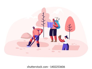 Archeologists, Scientists Working on Excavations with Professional Equipment, Digging Soil Layers with Shovel and Exploring Artifacts. People Studying Ancient History. Cartoon Flat Vector Illustration