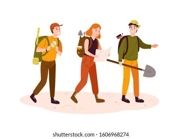 Archeologists team, researchers group flat vector illustration. Excited men and woman with archeological equipment reading map cartoon characters. Treasure hunters searching for artifacts.