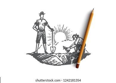 Archeology, ancient, luck, artifacts, fossil concept. Hand drawn archaeologists have found the skeleton of ancient animals concept sketch. Isolated vector illustration.