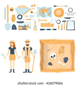 Archeology. Archaeologists man and woman, discovering a jug, treasure hunters ancient artifacts. Tools for excavations. Characters. Isolated on background. Flat style vector illustration.