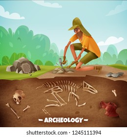 Archeology background with text and archeologist character during archeological excavations with dinosaur bones and outdoor landscape vector illustration