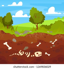 Archeology bones in soil layers. Landscape with trees and fields. Buried  dinosaur skeleton bone in dirt and underground clay layer, geological vector cartoon illustration.