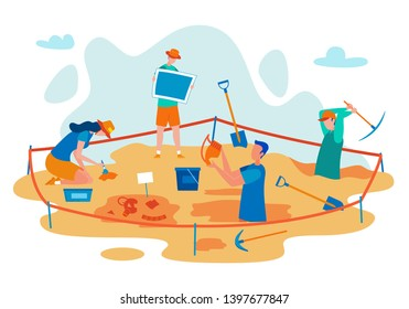 Archeology Excavations Flat Vector Concept with Scientist Digging in Field, Finding Ancient Culture Artifacts, Researching, Studying Antique Ceramic Dishes Illustration. University Students Practice