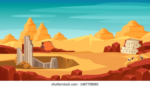 Archeology flat vector illustration. Archaeological site, digging hole in desert. History science expedition. Treasure hunting. Ancient architecture building and hieroglyphics on stone exploring