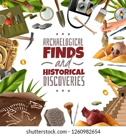Archeology frame background with round composition of digging equipment artefacts and findings surrounding ornate editable text vector illustration