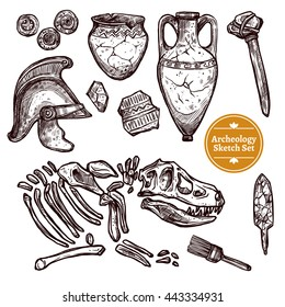 Archeology hand drawn sketch set of paleontological and archaeological ancient finds isolated vector illustration