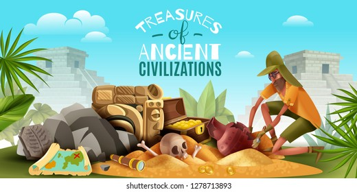 Archeology horizontal composition with ornate text and outdoor scenery with archeologist digging ground full of artefacts vector illustration