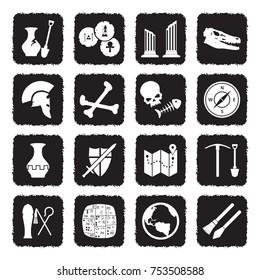 Archeology Icons. Grunge Black Flat Design. Vector Illustration.