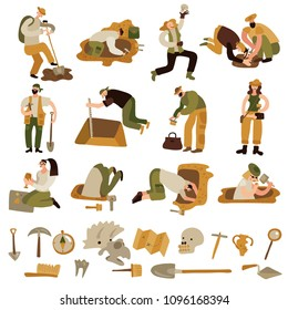Archeology icons set with bones and equipment symbols flat isolated vector illustration