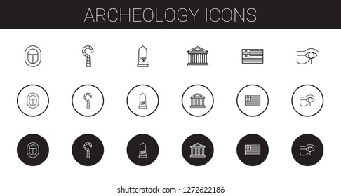 archeology icons set. Collection of archeology with egypt,  greece. Editable and scalable archeology icons.