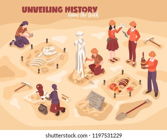 Archeology isometric composition scientists during work with historical finds ancient sculpture amphorae dinosaur skeleton vector illustration