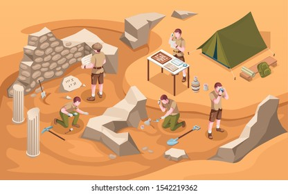 Archeology isometric excavation or archeologist at work. Archaeology job or archaeologist near ancient civilization architecture, columns and tent.Cartoon explorer at historic excavate.Old artifacts
