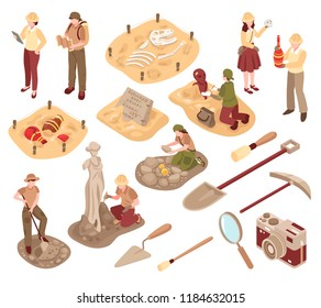 Archeology isometric set scientists with professional equipment during research of ancient artifacts isolated vector illustration
