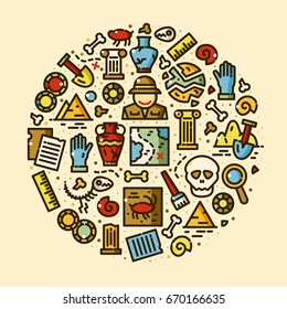 Archeology objects set, historical excavations line art vector illustration in round composition