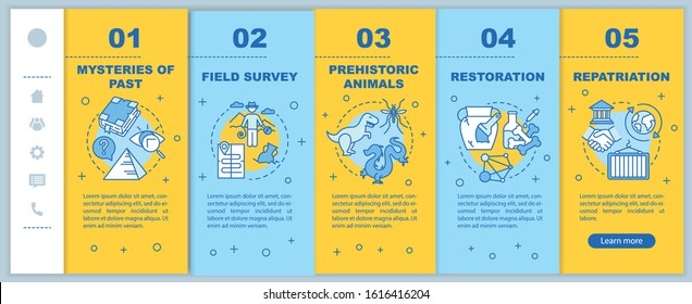 Archeology onboarding mobile web pages vector template. History researching. Responsive smartphone website interface idea with linear illustrations. Webpage walkthrough step screens. Color concept