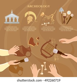 Archeology and paleontology concept archaeological excavation ancient history achaeologists unearth ancient artifacts vector illustration