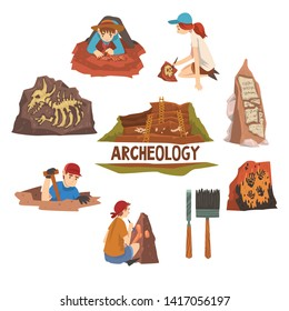 Archeology and Paleontology Set, Scientist Working on Excavations, Archaeological Artifacts and Tools Vector Illustration