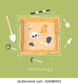 Archeology science. Ancient fossils. Discovering a jug, treasure hunters ancient artifacts. Historical. Tools for excavations. Species origin. Education. Flat style vector illustration.