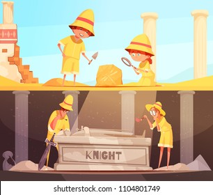 Archeology set of horizontal banners research of fossil and study of tomb of knight isolated vector illustration