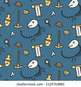 Archeology tools fossil dinosaurs seamless pattern with  blue background. Kids pattern, children design vector pattern.