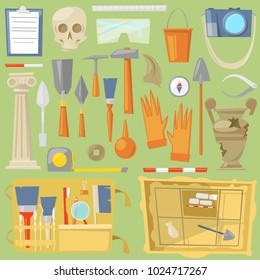 Archeology vector archaeological finds and tools or equipment and elements of ancient history finding by archaeologists illustration archaeology set isolated on background
