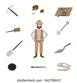 Archeology vector illustrations. Archeology vector symbols. Archaeologist , map, magnifier, compass, shovel, pick, skull, brush vector symbols. Eps10 illustrations. Tools for excavation