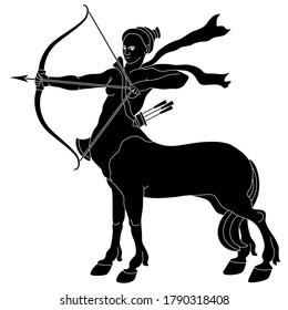 Archer Centauride or centauress. Female centaur shooting a bow and arrow. Fantastic creature. Half horse half woman. Black and white silhouette.