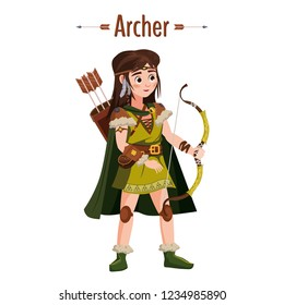 Archer girl warrior with bow, arrows, quiver. European medieval character in traditional costume. Vector Illustration isolated. Cartoon style