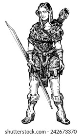 Archer Girl A woman archer with medieval/fantasy clothed