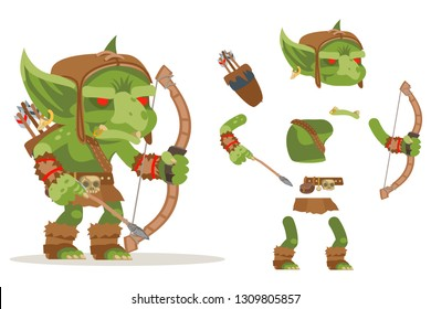 Archer goblin dungeon monster evil minion fantasy medieval action game RPG character layered animation ready character vector illustration
