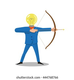 Archer. Ideas implementation. Bulb head man with bow aiming. Flat style vector illustration isolated on white back ground.