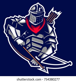 archer knight mascot logo of Ancient Kingdom Emperor age